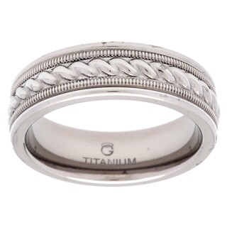 Titanium and Sterling Silver Textured Rope Band (4 options available)