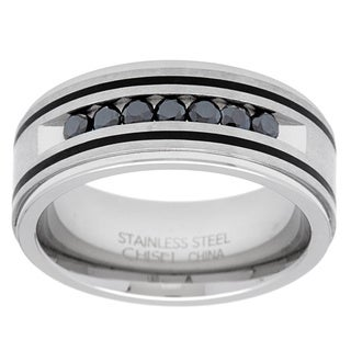 Stainless Steel 1/2ct TDW Round-cut Black Diamond Men's Band (Option: 10.25)