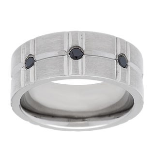 Stainless Steel 1/5ct TDW Round-cut Black Diamond Men's Band