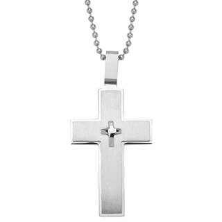 Stainless Steel Large 3D Cross Pendant