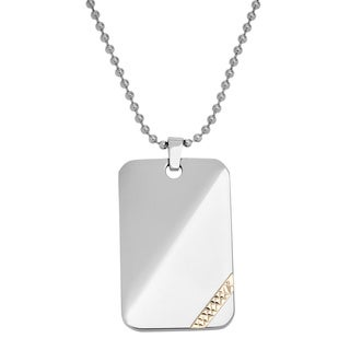 14k Yellow Goldplated Stainless Steel Dog Tag