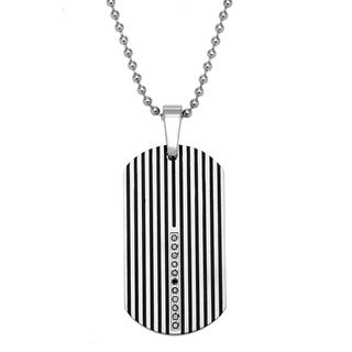 Stainless Steel 1/6ct TDW Round Black Diamond Dog Tag