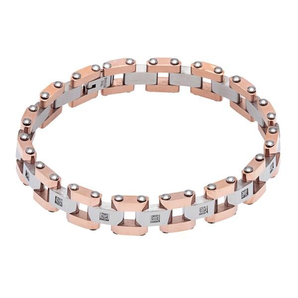 Stainless Steel 1/6ct TDW Round-cut White Diamond Bracelet