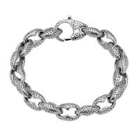 Stainless Steel Textured Link Bracelet