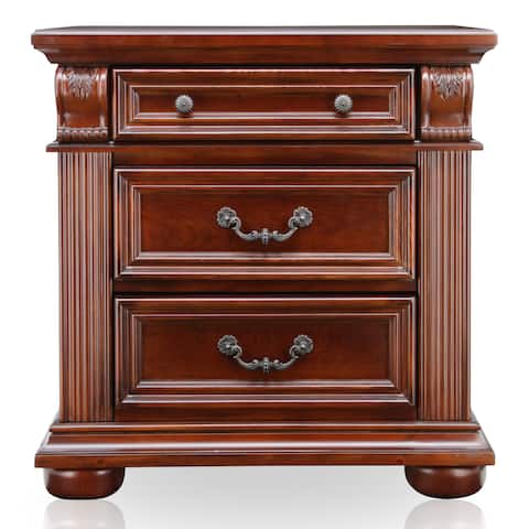Furniture of America Gaya Traditional Cherry Solid Wood Nightstand
