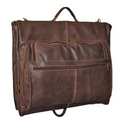 David King Leather 6204 Distressed Leather Deluxe 4-Suit Garment Bag Brown