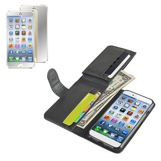 INSTEN Wallet Leather Phone Case Cover/ Mirror Screen Protector for Apple iPhone 6 4.7-inch