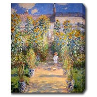 Claude Monet 'The Artist's Garden at Vetheuil' Oil on Canvas Art - Multi