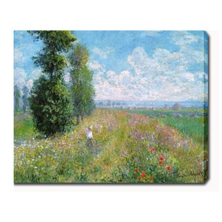 Claude Monet 'Meadow with Poplars' Oil on Canvas Art