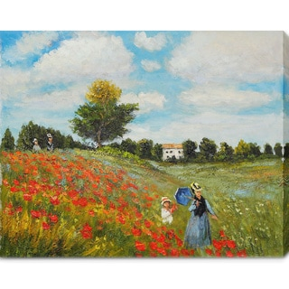 Claude Monet 'Poppy Field in Argenteuil' Oil on Canvas Art