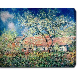 Claude Monet 'Springtime at Giverny' Oil on Canvas Art - Multi