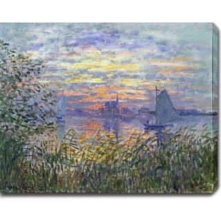 Claude Monet 'Sunset on the Siene' Oil on Canvas Art - Multi