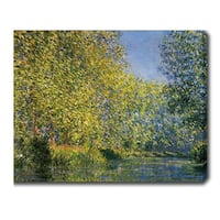 Claude Monet 'Bend in the Epte River' Oil on Canvas Art - Multi
