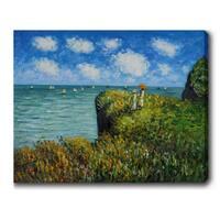 Claude Monet 'Cliff Walk at Pourville' Oil on Canvas Art - Multi