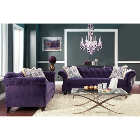 Furniture of America Perm Traditional Fabric Tufted Loveseat