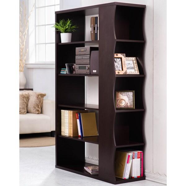 Shop Furniture of America Sydney Modern Walnut BookshelfRoom