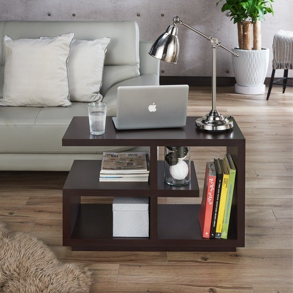 Modern Walnut Living Room Furniture shop furniture of america euclidor modern walnut end table - free
