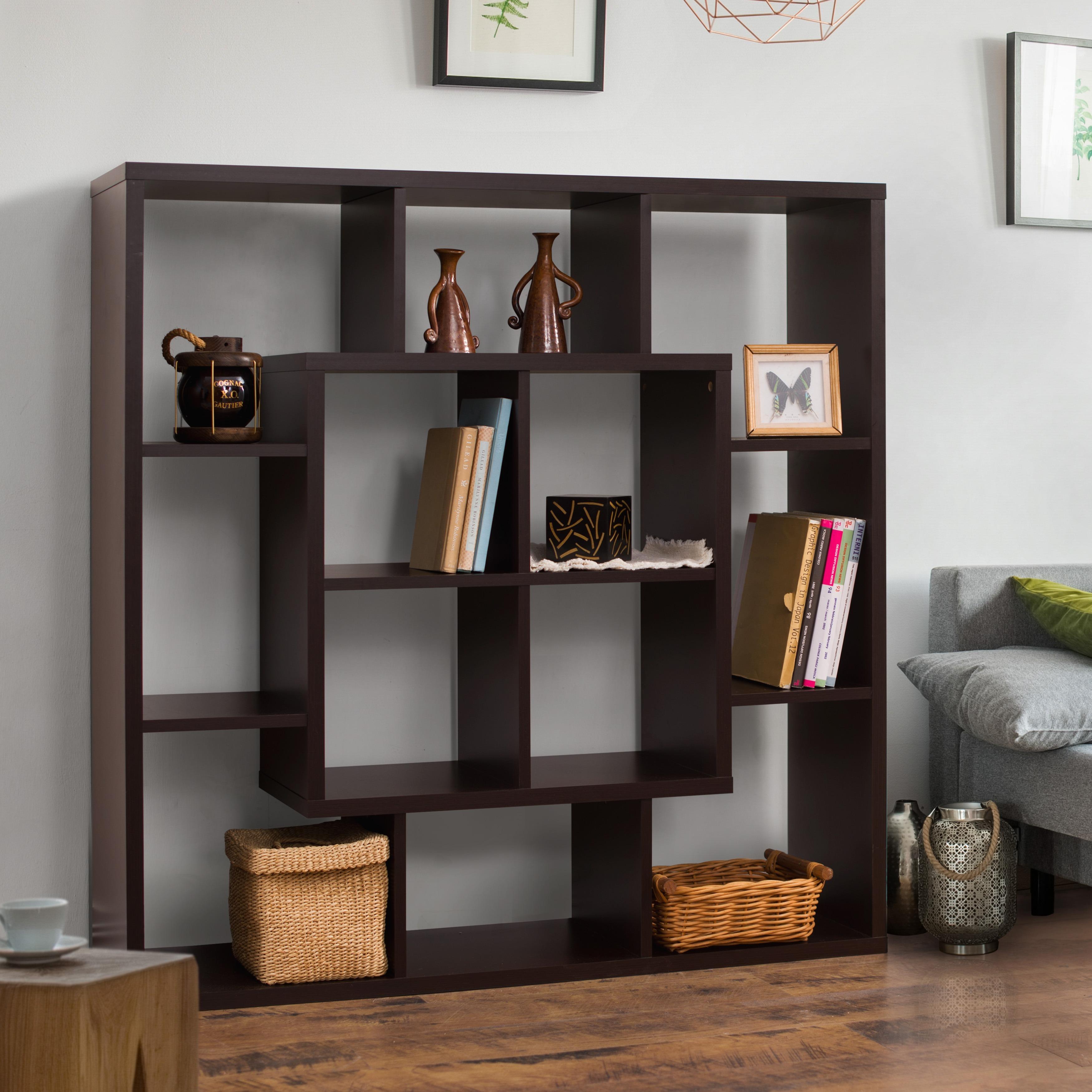 Aydan Modern Walnut Square Bookshelf by FOA