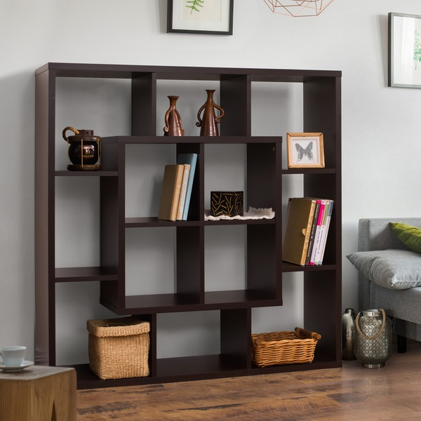 furniture of america aydan modern square walnut bookshelf