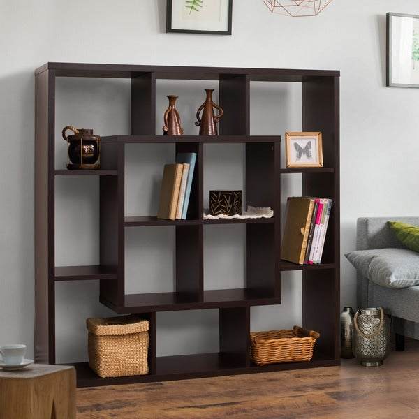 Furniture Of America Aydan Walnut Wood Modern Square Bookshelf Room Divider