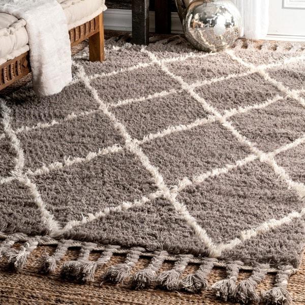 NuLOOM Hand Knotted Moroccan Trellis Natural Shag Wool Rug (9u0026#x27; ...