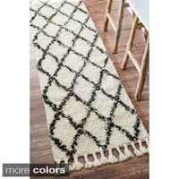 Oliver & James Zoe Hand-knotted Trellis Wool Shag Runner Rug - 2'8 x 8'