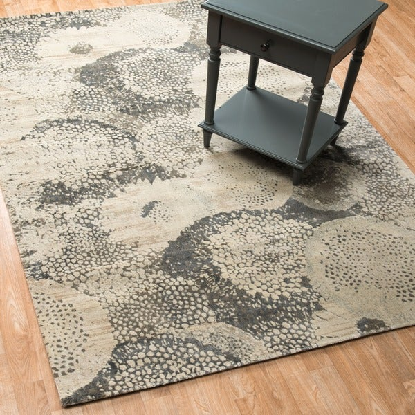 """Vintage Glam Grey/ Ivory Abstract Area Rug - 5' x 7'6"""""""