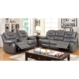 Furniture of America Embassy Convertible Duo-tone 2-Piece Reclining Loveseat and Sofa Set