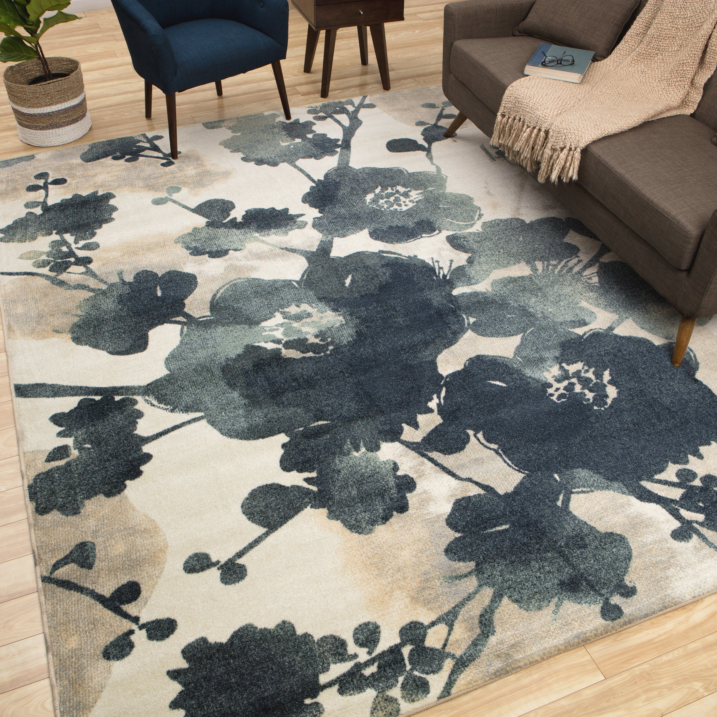 New Wave Stream Of Blues Water Area Rug