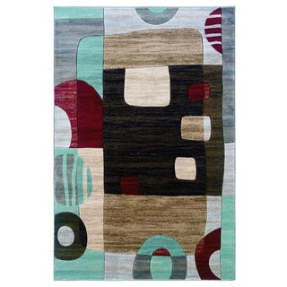 Linon Milan Collection Black/ garnet Area Rug (1'10 x 2'10)