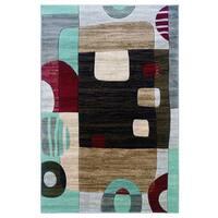 Linon Milan Collection Black/ garnet Area Rug - 1'10 x 2'10
