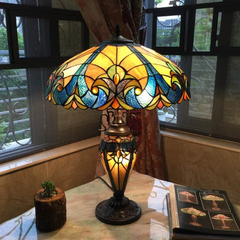 Tiffany Style Victorian 2 and 1-light Bronze Table Lamp