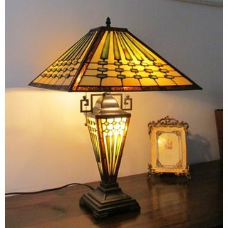 Chloe Tiffany Style Mission Design Dark Bronze Double Lit 2+1-light Table Lamp