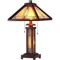 Tiffany Style Mission Double Lit 2 and 1-light Bronze Table Lamp