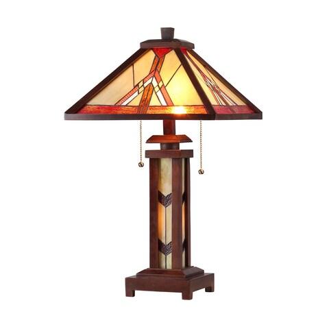Chloe Tiffany Style Mission Double Lit 2+1-light Dark Bronze Table Lamp