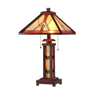 Tiffany-style Mission Dark Bronze Double Lit 2 and 1 Light Table Lamp