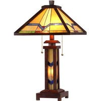 Chloe Tiffany Style Mission Design Double Lit 2+1-light Dark Bronze Table Lamp
