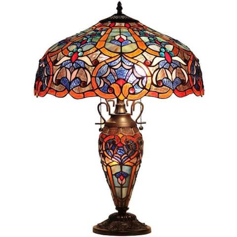 Tiffany Style Victorian Design Double Lit 2 +1 Dark Bronze Table Lamp