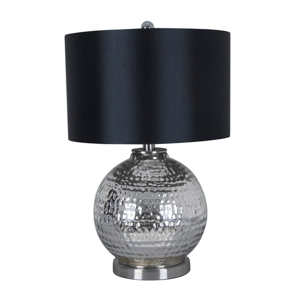 illuminada 3 way mercury glass table lamp with black drum shade free. Black Bedroom Furniture Sets. Home Design Ideas