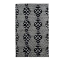 Linon Milan Collection Black/ Turquoise Area Rug - 1'10 x 2'10