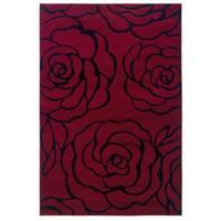 Linon Milan Collection Garnet/ Black Area Rug (5' x 7'7) - 5' x 7'7