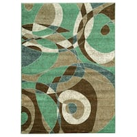 Linon Elegance Beige/ Turquoise Area Rug (5' x 7'3)