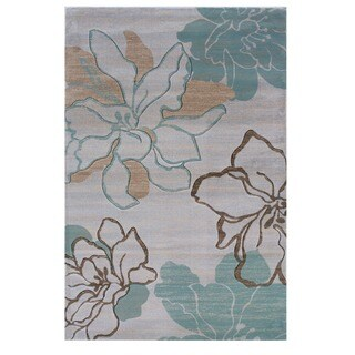 Linon Milan Collection Ivory/ Turquoise Area Rug (5' x 7'7)