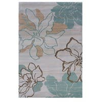 Linon Milan Collection Ivory/ Turquoise Area Rug - 5' x 7'7