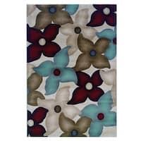 Linon Milan Collection Garnet/ Ivory Area Rug (5' x 7'7) - 5' x 7'7