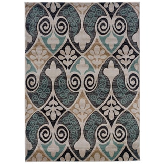 Linon Milan Collection Black/ Turquoise Floral Area Rug (8' x 10'3)