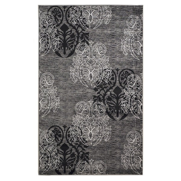 Linon Milan Collection Grey/ Back Area Rug (8' x 10'3) - 8' x 10'3