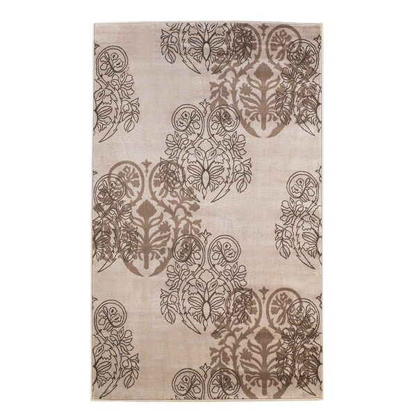 Linon Milan Collection Ivory/ Brown Transitional Floral Area Rug (8' x 10'3) - 8' x 10'3