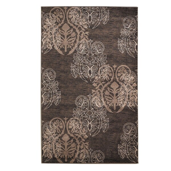 Linon Milan Collection Brown/ Beige Transitional Floral Area Rug (8' x 10'3) - 8' x 10'3