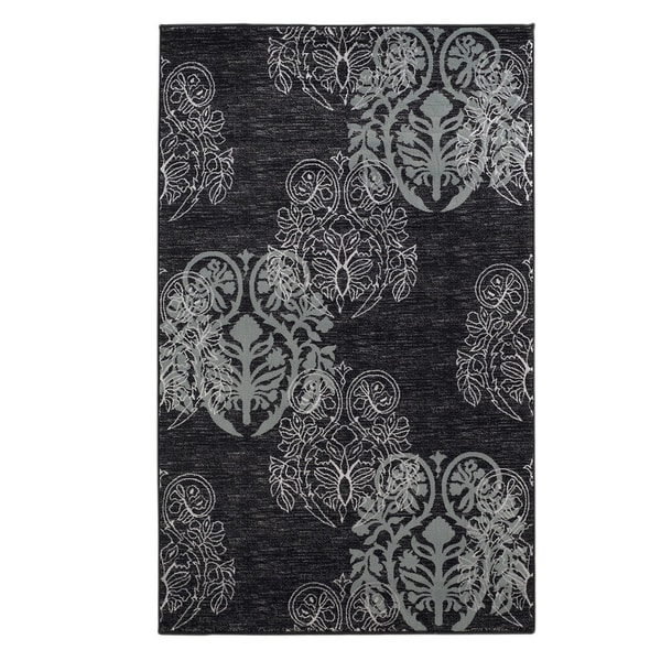 Linon Milan Collection Black/ Turquoise Transitional Floral Area Rug - 8' x 10'3